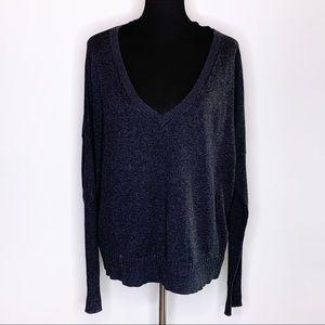 Victoria's Secret charcoal gray deep v neck sweater L